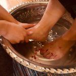 炭酸泉の足湯付き